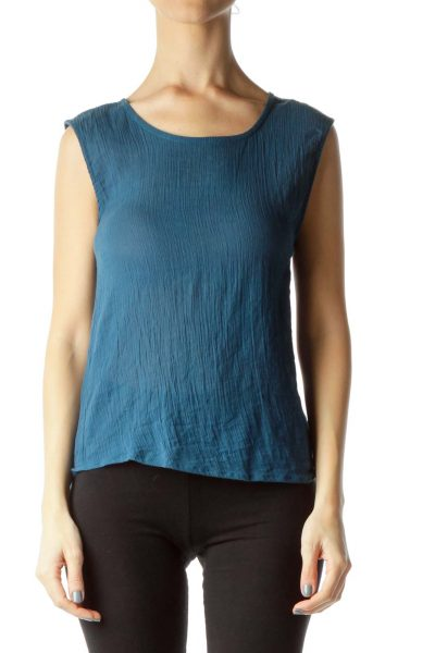 Blue Sheer Loose Cotton Top