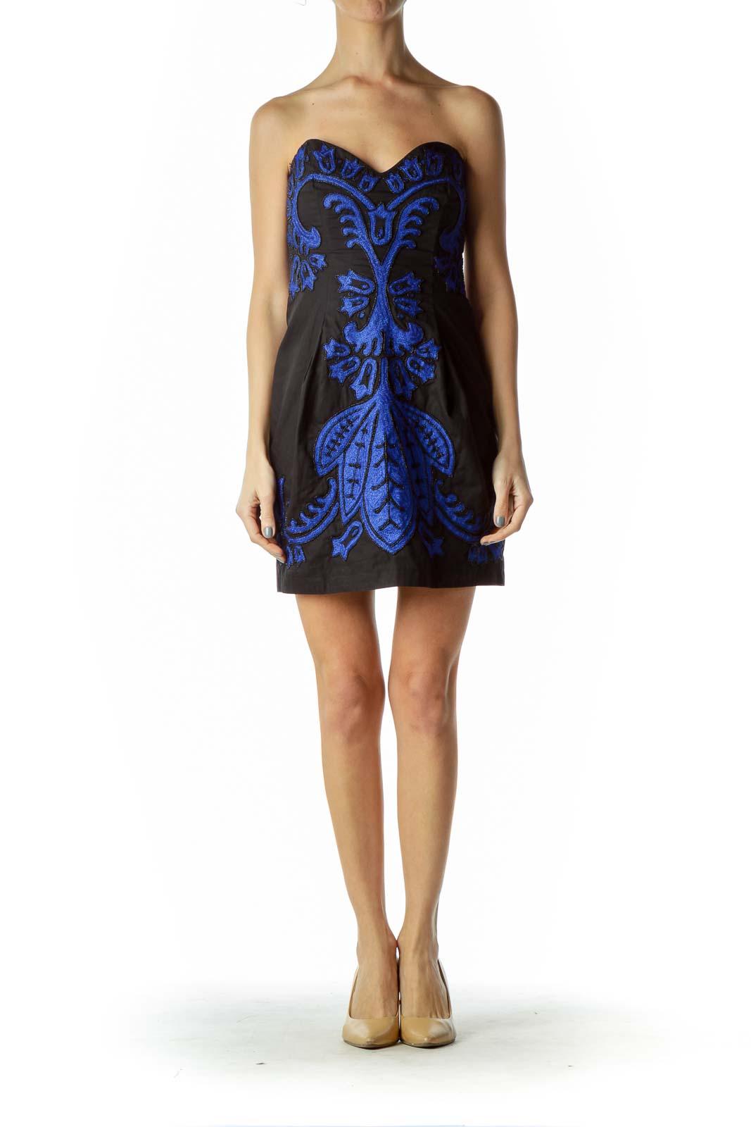 Black/Blue Beaded Strapless Dress