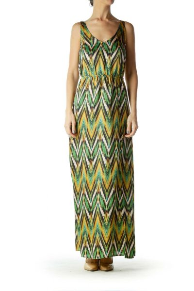 Green Beige Zig Zag Print Maxi Dress