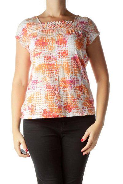 Orange Pink Printed T-Shirt