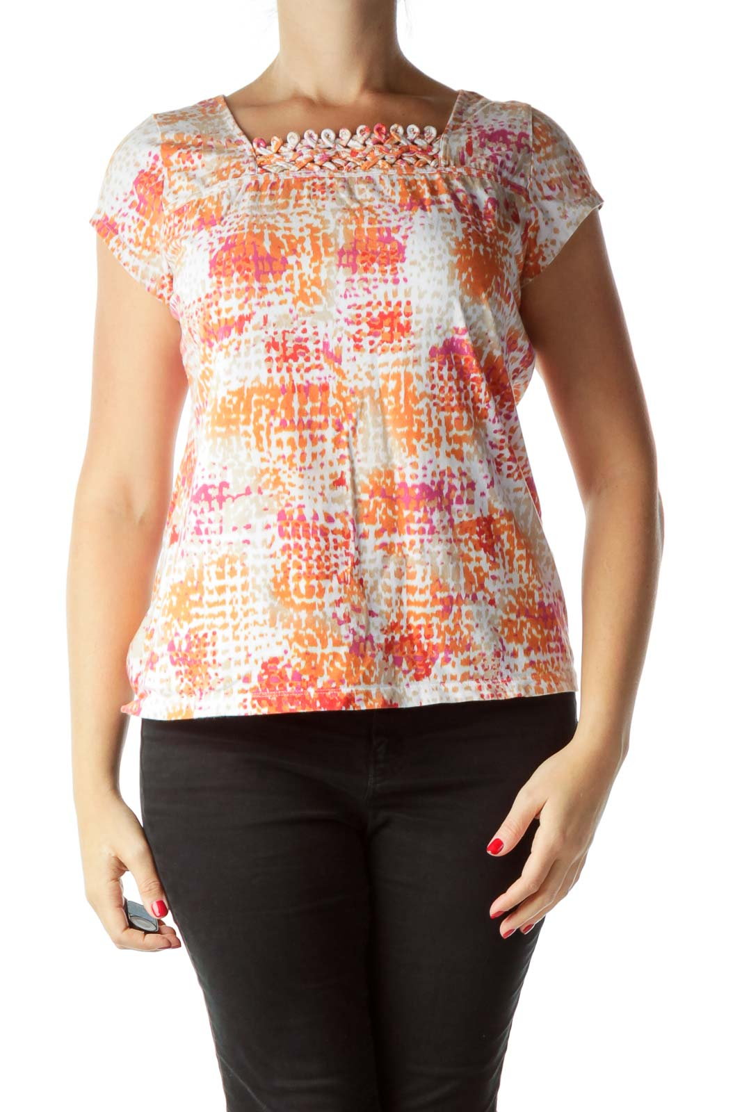 Orange Pink Printed T-Shirt