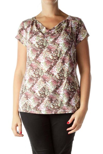 Pink Green Printed Boat Neck Top