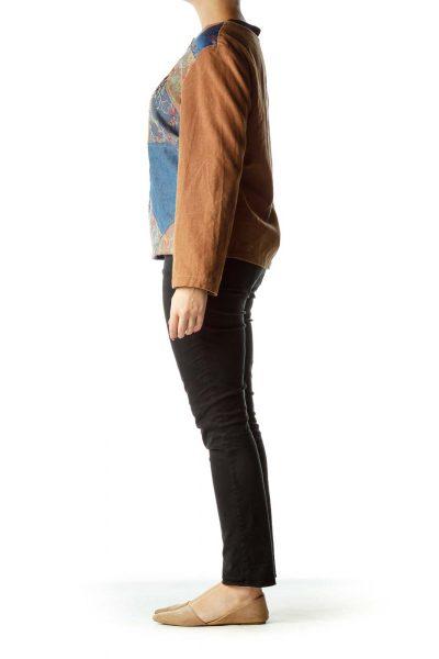 Brown Blue Denim & Corduroy Jacket