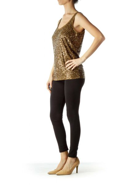 Brown Sequined Tank Top
