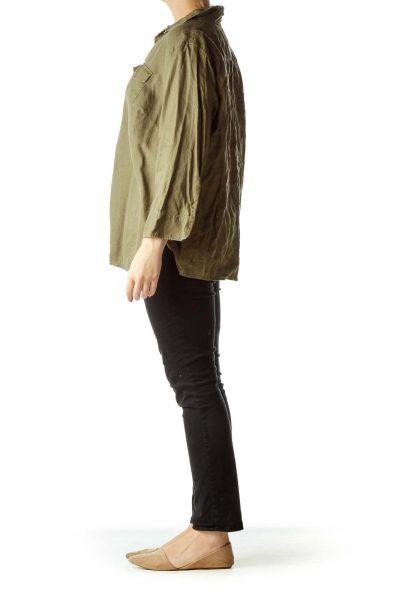 Green Buttoned Collared Linen Shirt