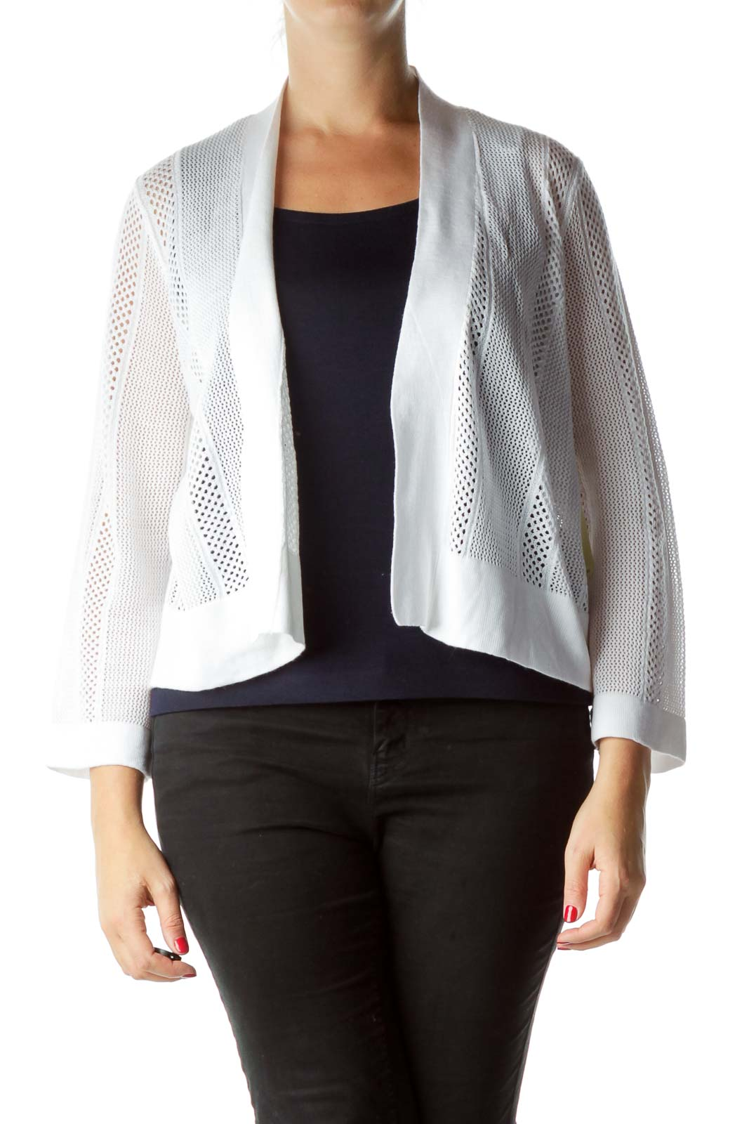 White Open Cable Knit Cardigan