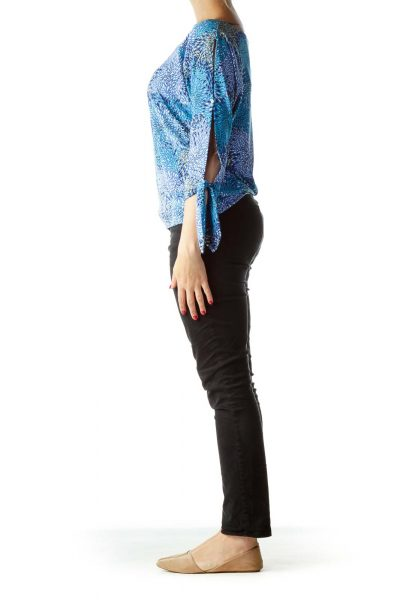 Blue Yellow Printed Boat Neck Blouse