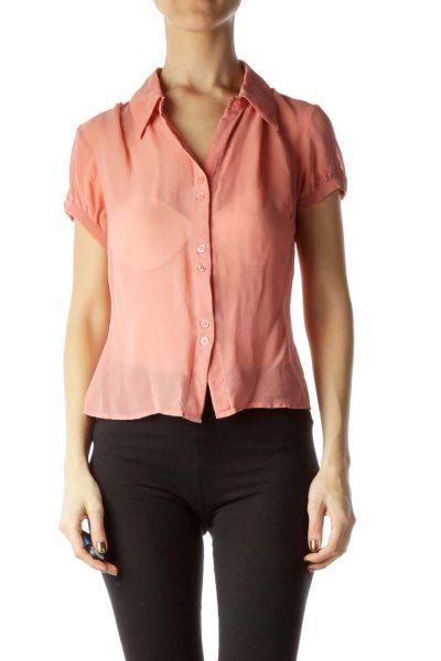 Pink Silk Buttoned Short Sleeve Blouse