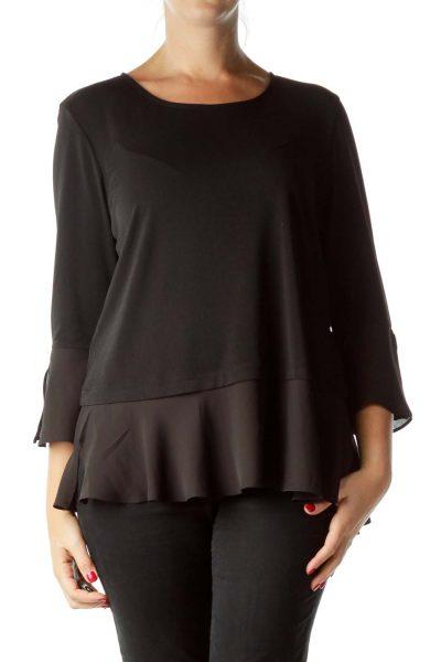 Black Bell Sleeve Blouse