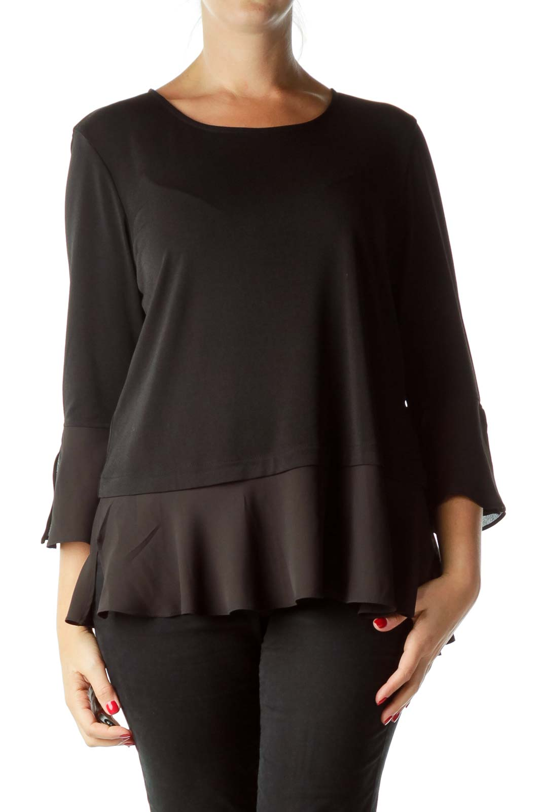 Black Bell Sleeve Blouse