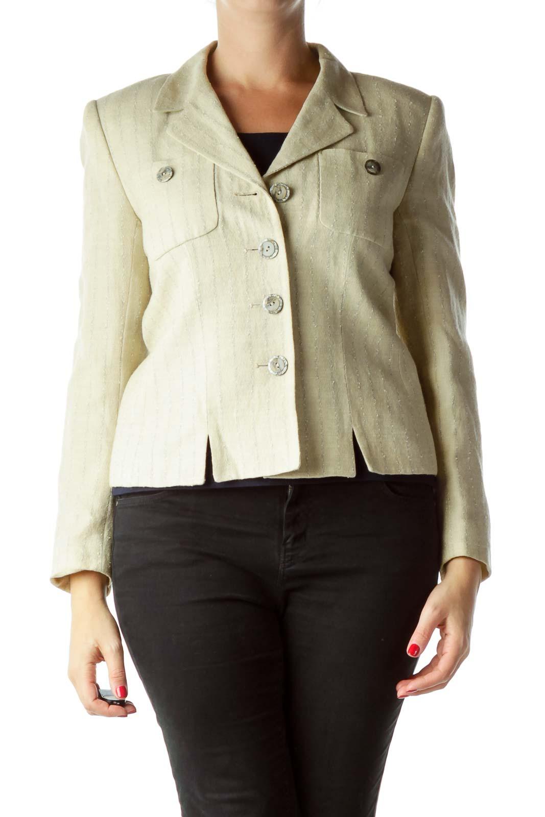 Beige Pinstripe Buttoned Blazer