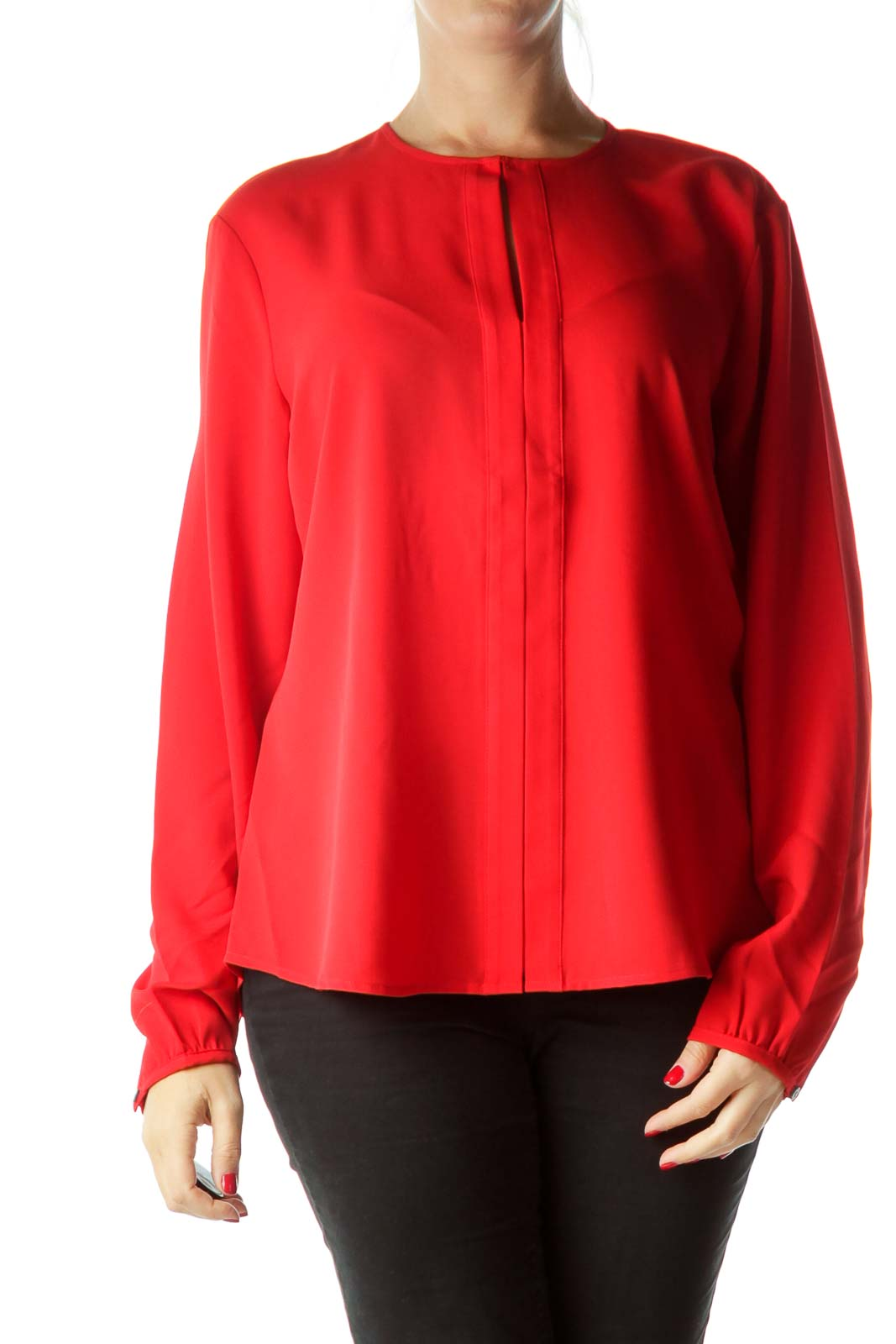 Red V-Neck Blouse