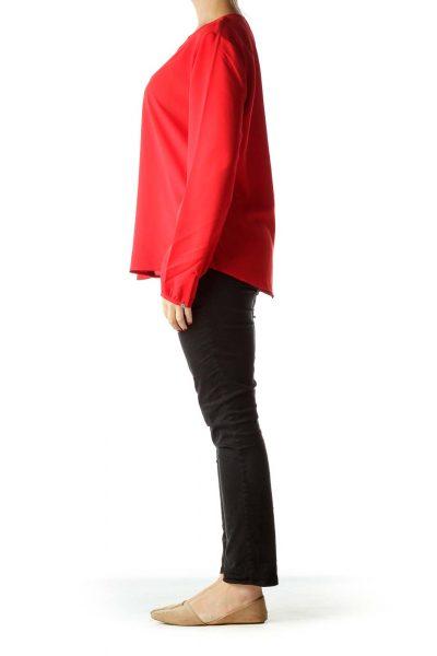Red V-Neck Blouse