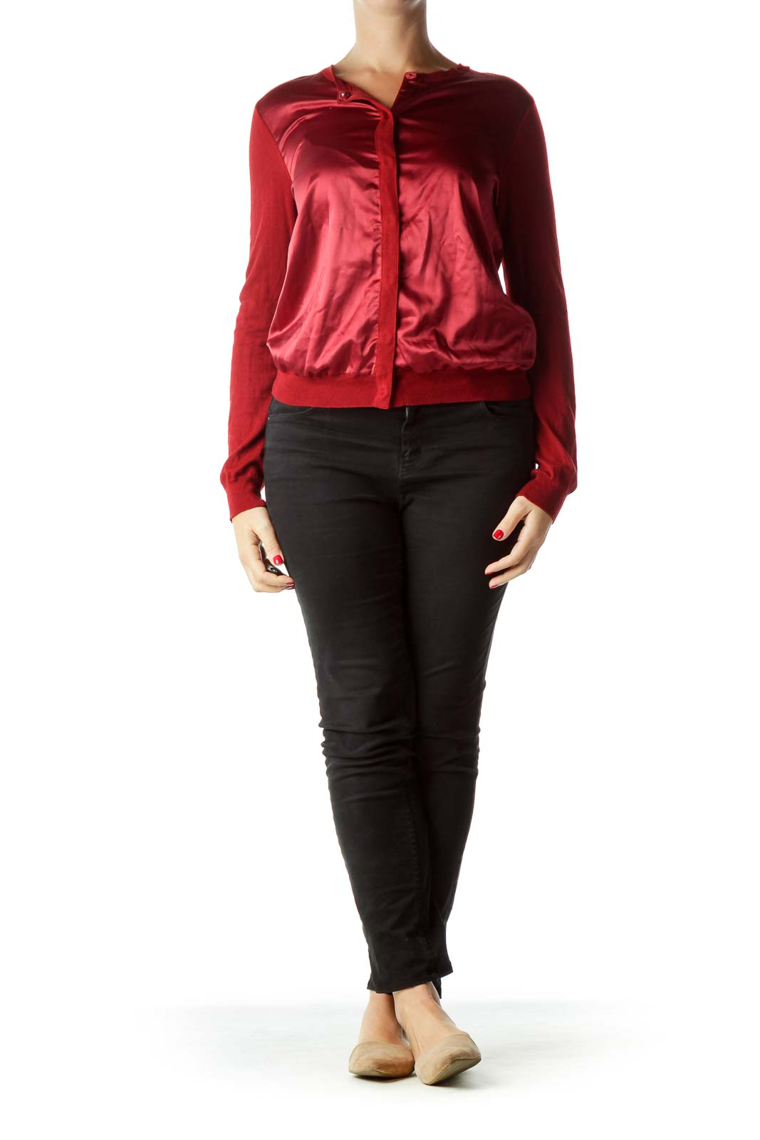 Red Satin Detail Cardigan with Snaps