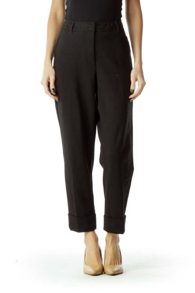 Black Cropped Cuffed Slacks