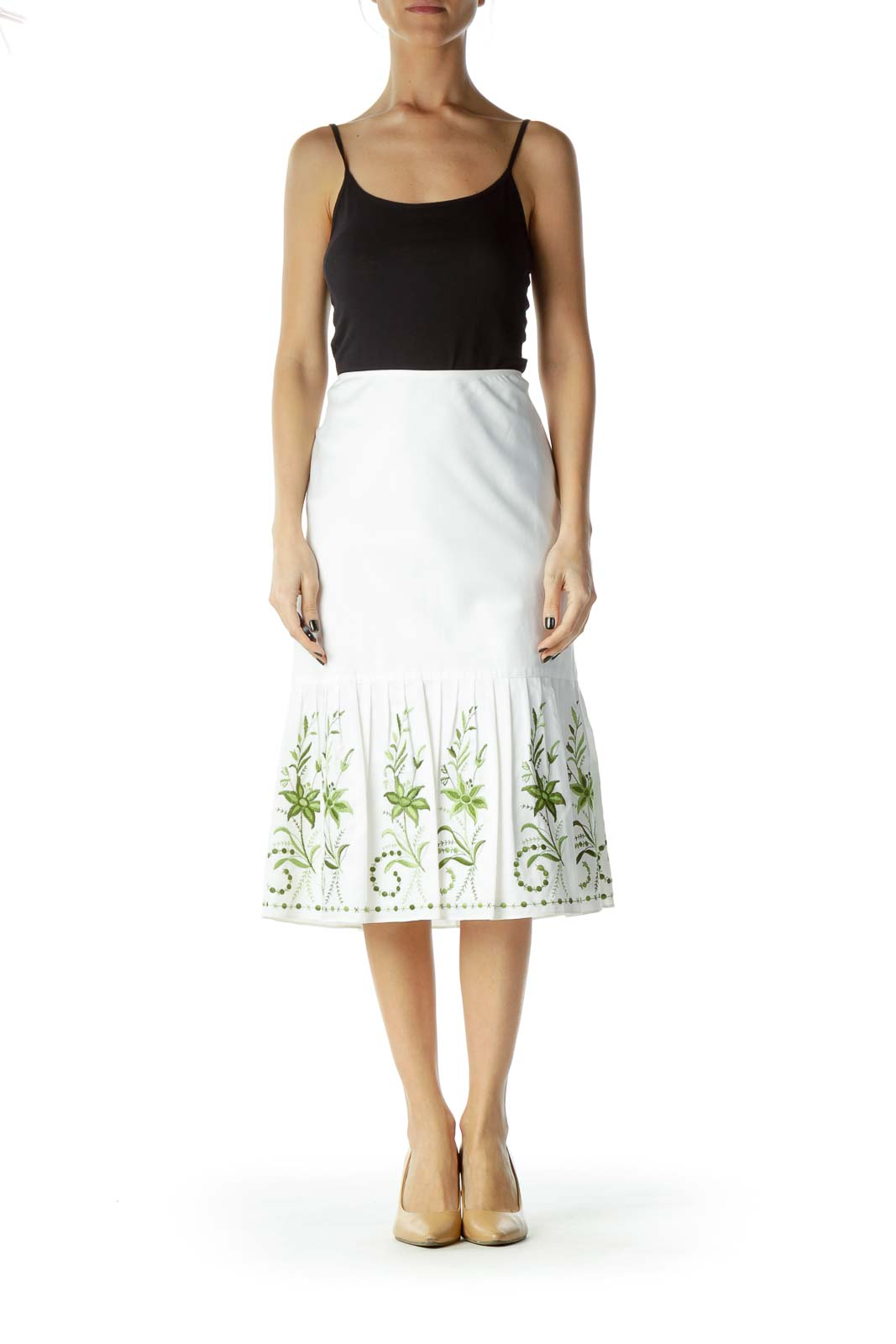 White Green Embroidered A-Line Skirt