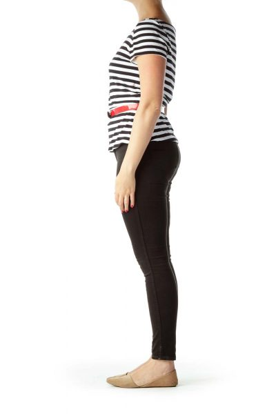 Black White Striped Peplum Top with Belt