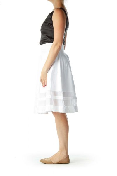 White Flared Sheer Skirt