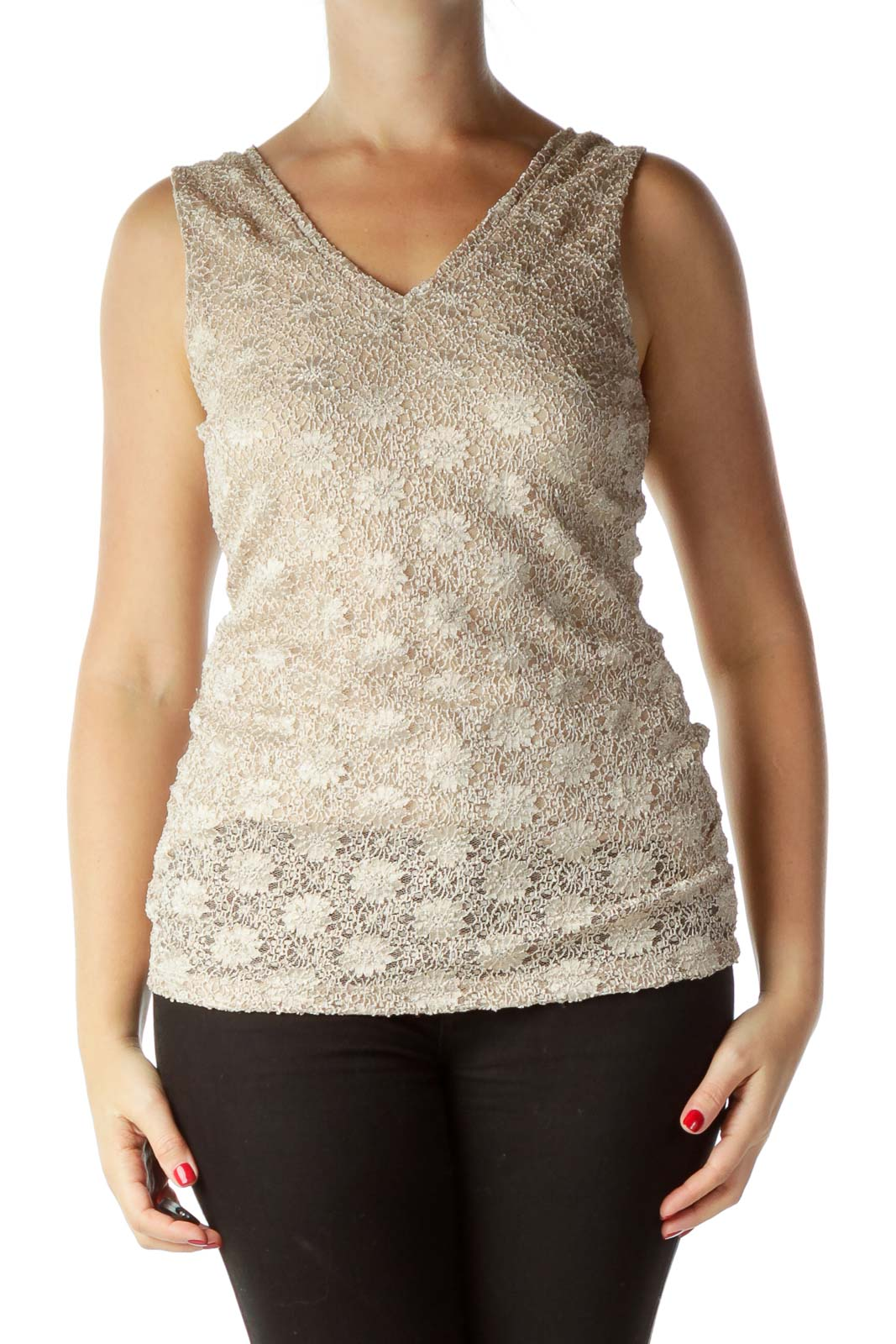 Cream Lace Sleeveless Top