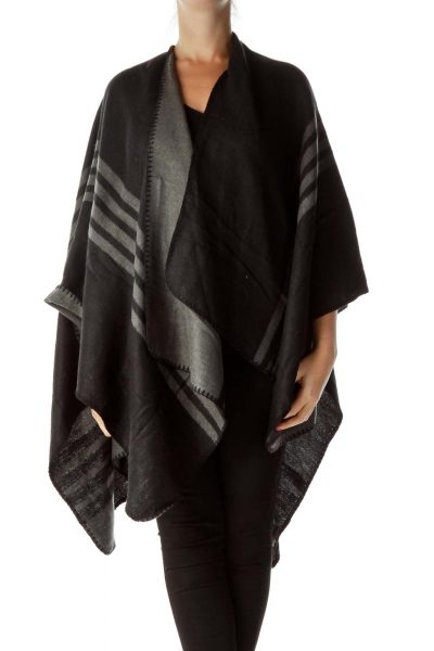Black Gray Striped Poncho
