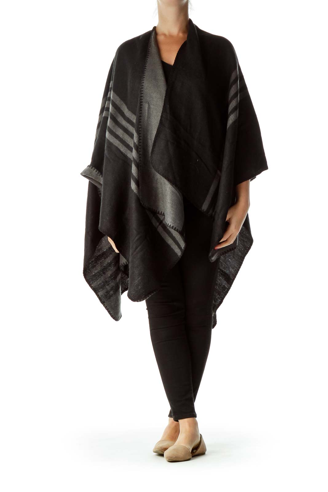 Black Gray Striped Poncho
