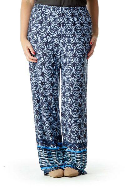 Navy Blue Printed Wide-Leg Pants