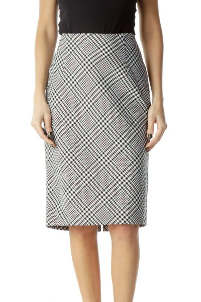 Black White Houndstooth Pencil Skirt