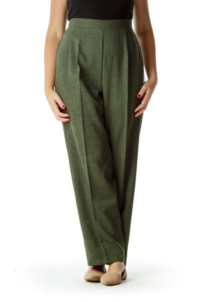 Green Pleated Suit Pants