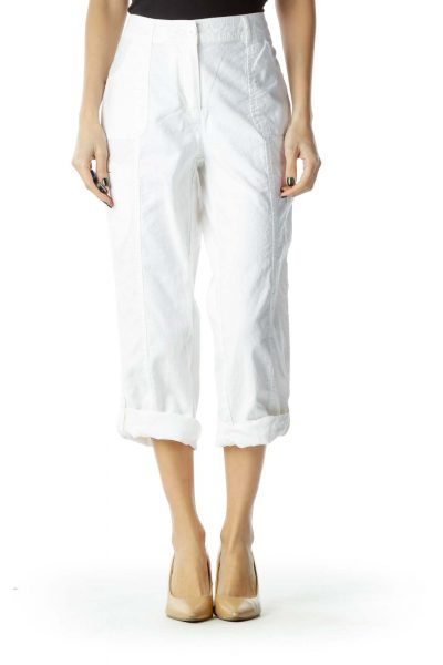 White Linen Cropped Slacks