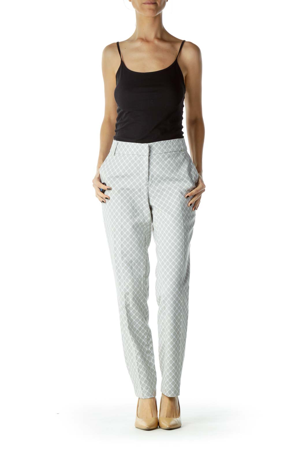Gray White Printed Slacks