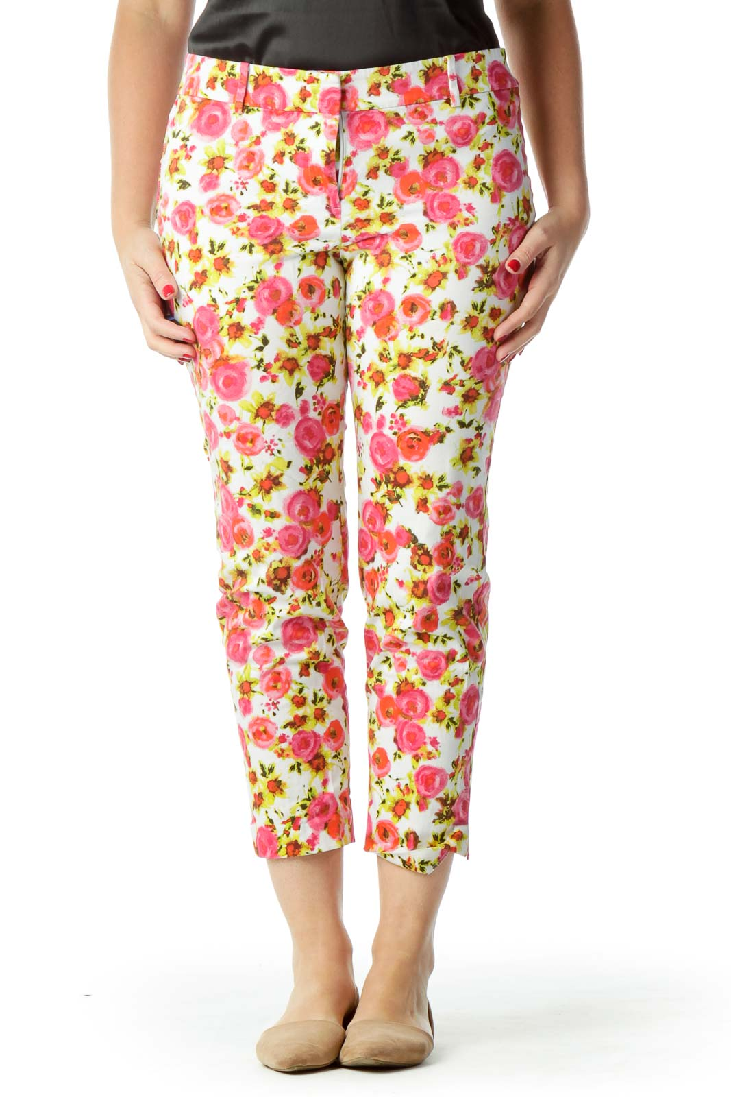Pink Yellow Flower Print Cropped Pants