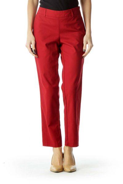 Red Straight-Leg Fitted Slacks