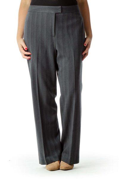 Gray Chevron Print Wide-Leg Slacks