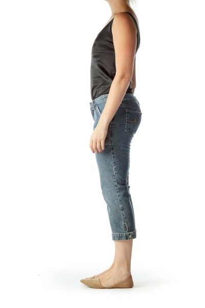 Blue Pocketed Cropped Jeans