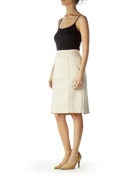 Beige Pencil Skirt with Seams