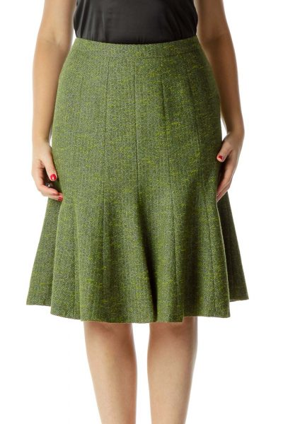 Green Tweed Pleated Skirt