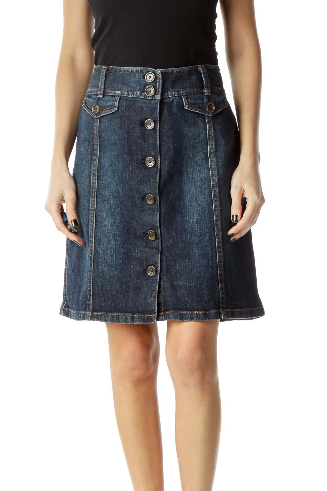 Blue Denim Buttoned Skirt