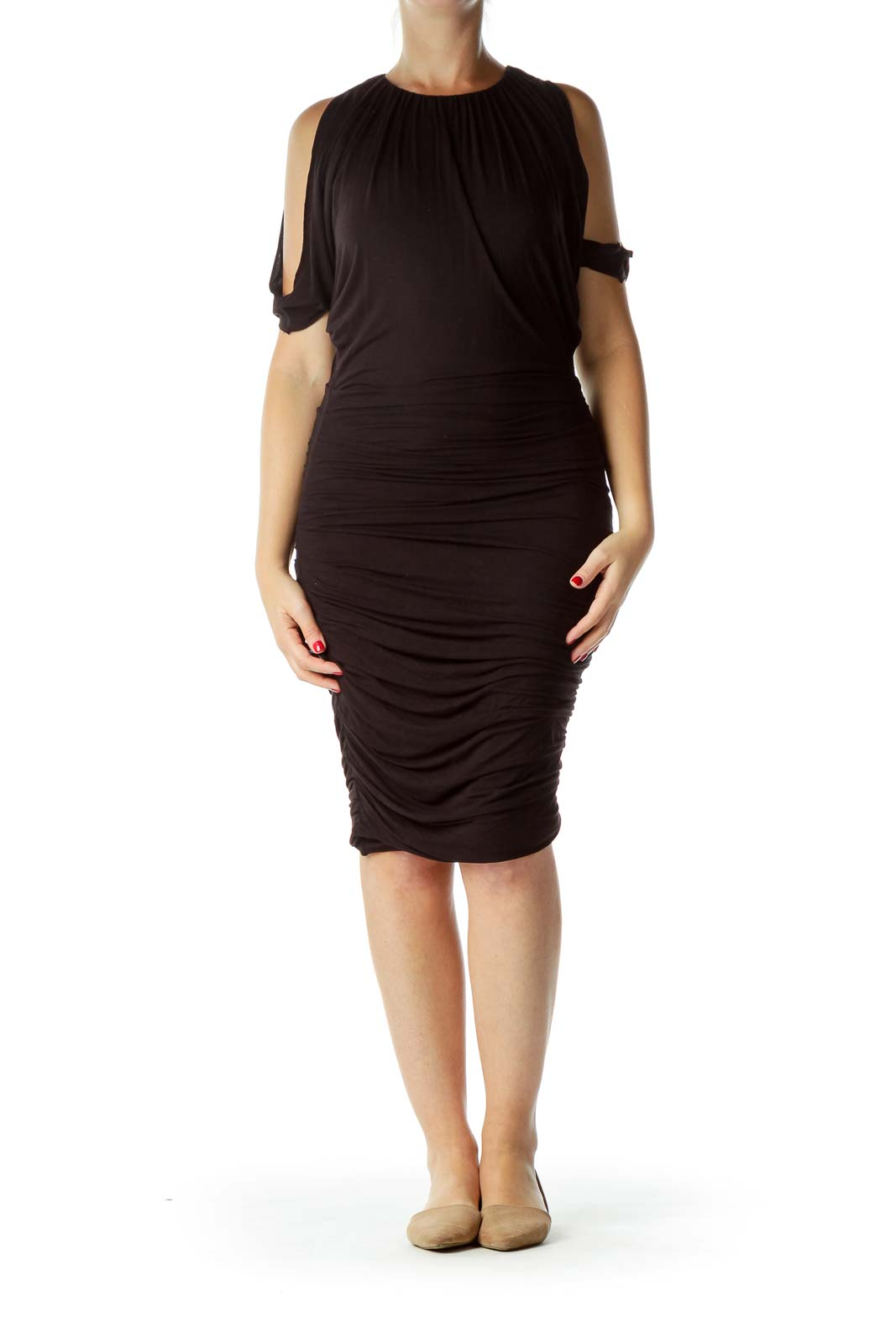 Black Scrunched Day Dress