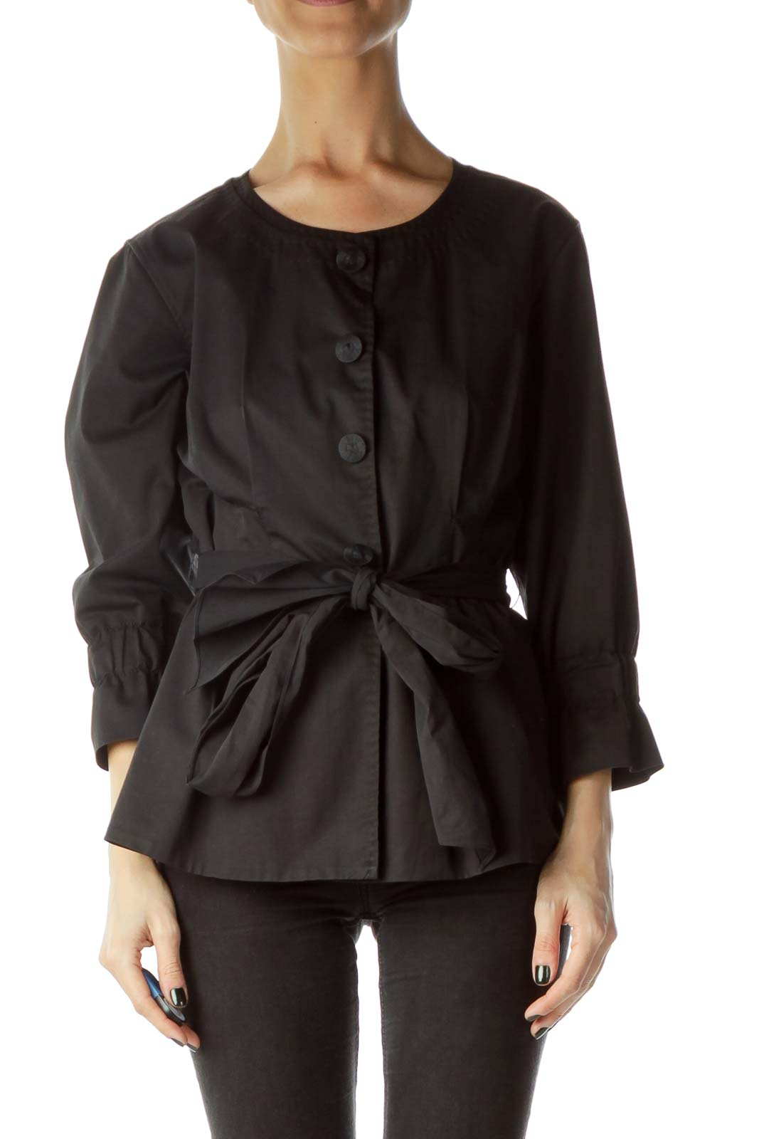 Black 3/4 Sleeve Fitted Jacket