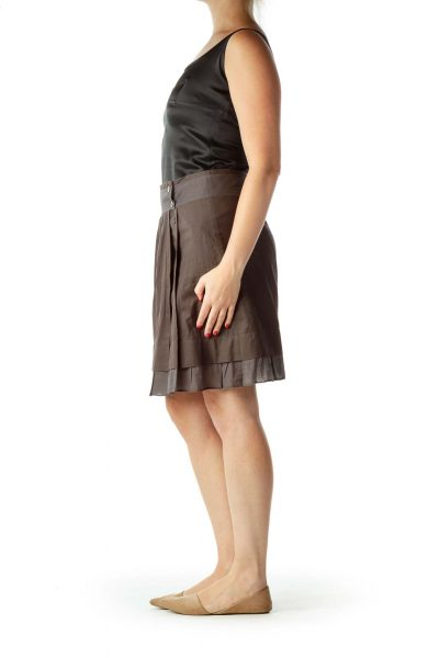 Brown Buttoned Pleated Skirt