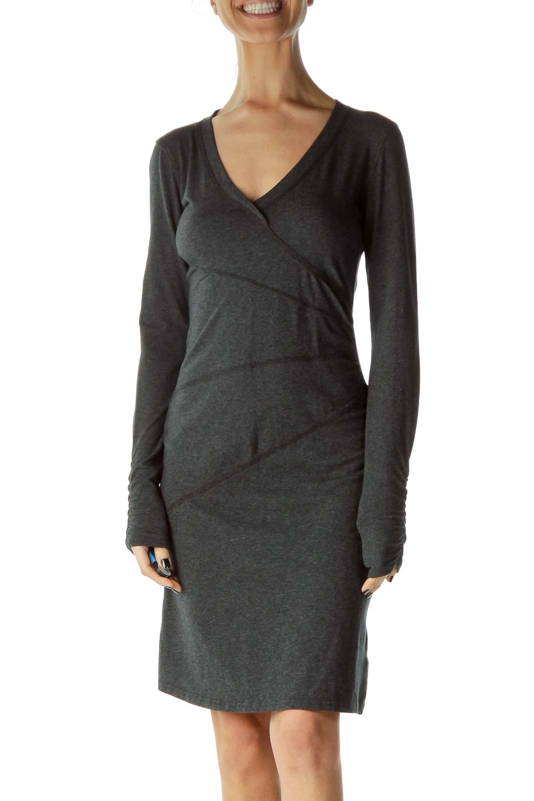 Gray Scrunched Long Sleeve Day Dress