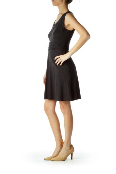 Black Scrunched Day Dress with White Stitch