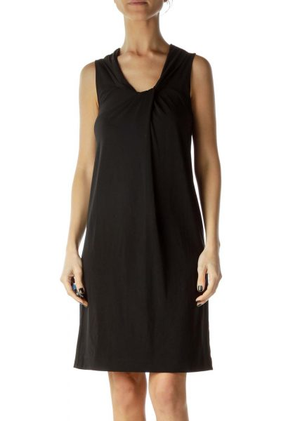 Black Round Neck Shift Dress