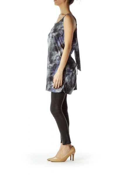 Gray Blue Printed Shift Jersey Dress