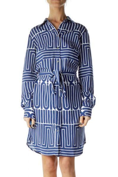 Blue White Printed Shirt Dress