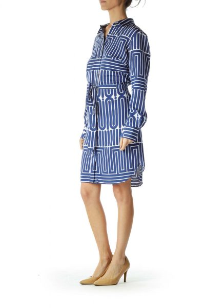 Blue White Printed Shirt Dress