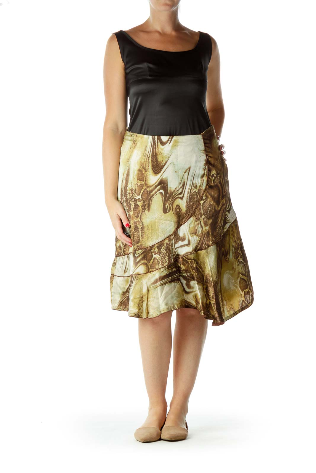 Brown Green Print Flared Skirt