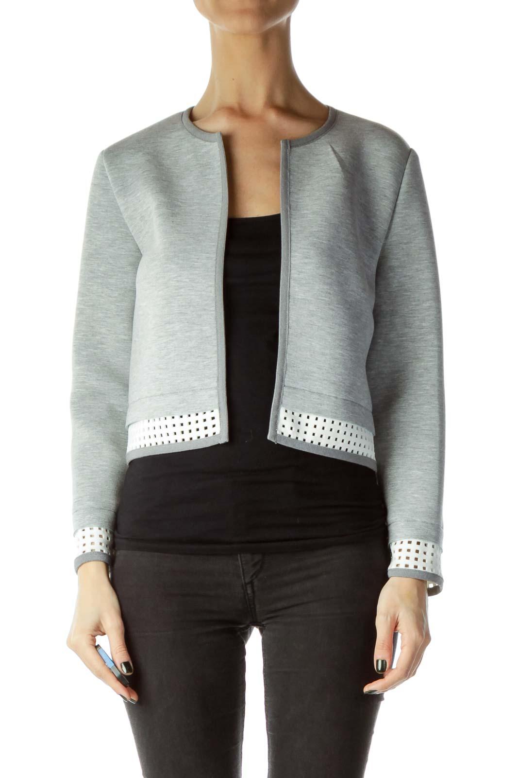 Gray Cropped Scuba Jacket