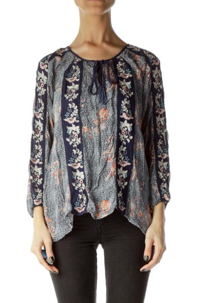 Navy Printed Embroidered 3/4 Sleeve Blouse