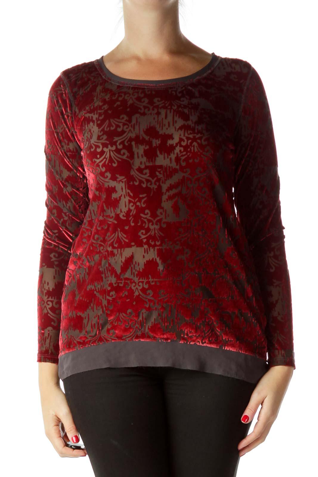 Red Velvet Print Long Sleeve Top